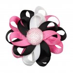 "12pcs 3"" Flower Loop Hair Bow with Ribbon Covered Clip-Black/Hot Pink/White"