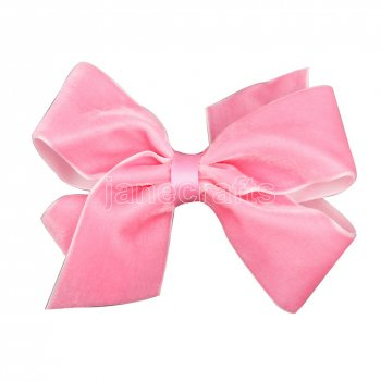 12pcs 4.5  Velvet Chunky Bowtie Hair Bows NO CLIP-Pink