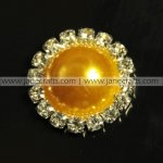 50pcs 21mm Round Metal Rhinestone Pearl Button Flatback GOLDEN