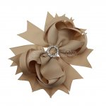"12pcs 4.5"" Bling Spike Hair Bows with Rhinestone Slider Center With Clips-Tan"