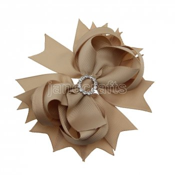 12pcs 4.5  Bling Spike Hair Bows with Rhinestone Slider Center With Clips-Tan