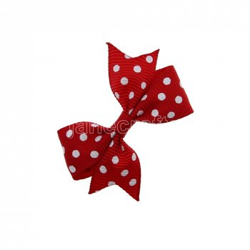 12pcs 2  Swiss Dot Spike Pigtail Hair Bows NO CLIP-Peppy Red with white