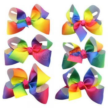6 pcs 5.5inch boutique bow w/ clip mix 6 gradient rainbow color