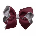 12pcs 4.5 inch silver layered boutique bow clip-burgundy