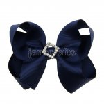 "12pcs 4.5"" Bling Chunky Boutique Hair Bows with Rhinestone Slider Center Without Clips-Navy"