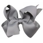 12pcs 4.5 inch silver layered boutique bow clip-shell grey