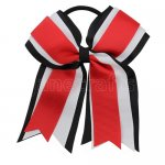 12pcs 5 inch black / white 3 layered cheer bow ponytail holder-red