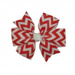 "12pcs 3"" Chevron Grosgrain Pinwheel Hair Hair Bows NO CLIP-Peppy Red"