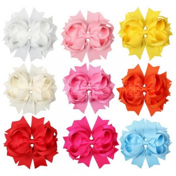 WHOLESALE-4.5  Solid Stacked Solid Grosgrain Spike Bow-60pcs