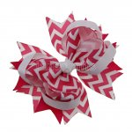 "12pcs 4.5"" Chevron Spike Hair Hair Bows NO CLIP-Shocking Pink"