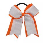 12pcs 5 inch silver / white 3 layered cheer bow ponytail holder-torrid orange