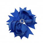 "12pcs 4.5"" Bling Spike Hair Bows with Rhinestone Slider Center Without Clips-Royal"