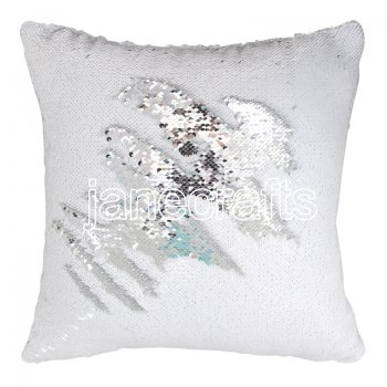 10pcs wholesale silver / white two tone reversible sequin cushions cover pillow case