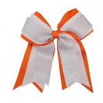 12pcs 5 inch silver / white 3 layered cheer bow clip-torrid orange