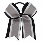 12pcs 5 inch black / white 3 layered cheer bow ponytail holder-silver