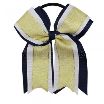 12pcs 5 inch gold / white 3 layered cheer bow ponytail holder-navy