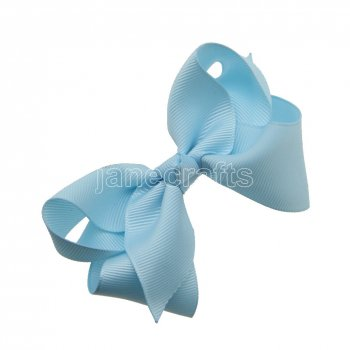 12pcs 3.5  Solid Grosgrain Chunky Boutique Hair Bows Without Clip-Lt Blue
