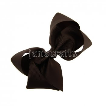 12pcs 4.5  Solid Grosgrain Chunky Boutique Hair Bows Without Clip-Brown