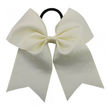 12 pcs ivory grosgrain 7 inch cheerleading bow w/ pony tail holder