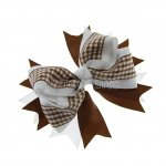 "12pcs 4.5"" Gingham Layered Spike Hair Bow Without Clip- Turftan"