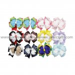 12pcs 3 Inch Loop Layered Hair Bow Clips Mix 12 Color