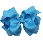 12pcs 4 inch layered boutique bow clip-turquoise