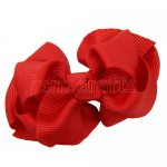 12pcs 2.5 inch layered boutique bow clip-poppy red