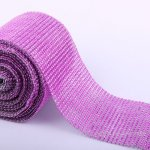 "4.6"" Wedding Diamond Mesh Wrap Roll Sparkle Rhinestone Looking Ribbon 10 yard-Purple"
