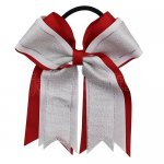 12pcs 5 inch silver / white 3 layered cheer bow ponytail holder-red
