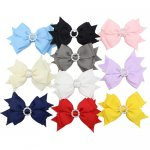 10pcs 4 inch Layered Hair Bow Clips with Circle Rhinestone Center Mixed 10 Color