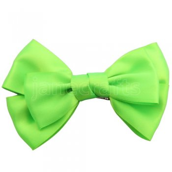 12pcs 4  Satin Hair Bow Clips for girls-Apple Green