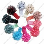 10pcs Big Chiffon Flower Crochet Baby Headband Set with Polka Dots 10 Colors