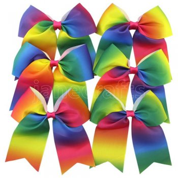 6pcs 7 Inch Huge Cheer Bow Clips Mix 6 gradient rainbow