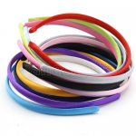 "12pcs 3/8"" Ribbon Covered Plastic Heabands 12 Colors"