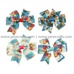 "20pcs 3"" FROZEN Printed Ribbon Hair Bow With Clip MIX 4 Color"