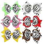 Big Zebra Baby Girl Fashion Spike Hair Bow Clips 12pcs Mixed in 6 Color
