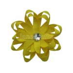 "12pcs 3"" Layered Flower Loop Hair Bows NO CLIP with Rhinestone Center-Daffodil"