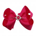 "12pcs 4.5"" Bling Chunky Boutique Hair Bows with Rhinestone Slider Center Without Clips-Shocking Pink"