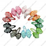 "Cute 2"" Stripe Layered Bow with Covered Hair Snap 10pcs"