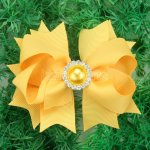 "12pcs 4"" Hair Bows with Pearl Rhinestone Center With Clips-Maize"