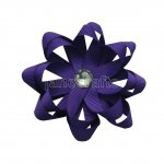 "12pcs 3"" Layered Flower Loop Hair Bows NO CLIP with Rhinestone Center-Purple"