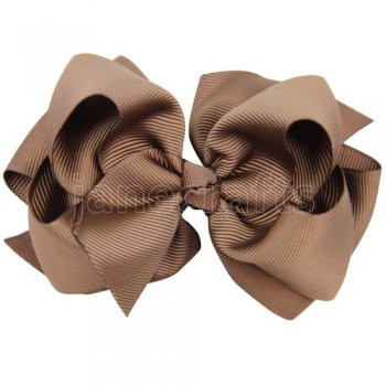 12pcs 4 inch layered boutique bow clip-brown