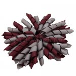 12 pcs school color grey / burgundy grosgrain 5 inch korker bow w/ lined clips