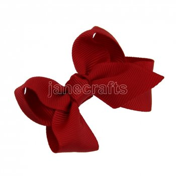 12pcs 2.5  Solid Grosgrain Chunky Boutique Hair Bows With Clips-Poppy Red