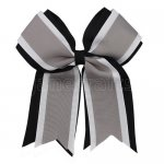 12pcs 5 inch black / white 3 layered cheer bow clip-silver