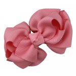 12pcs 2.5 inch layered boutique bow clip-pink