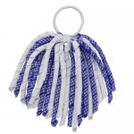 12 pcs school color white / royal gingham 6 inch long korker bow w/ pony tail holder