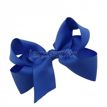 12pcs 4.5  Solid Grosgrain Chunky Boutique Hair Bows With Clips-Royal