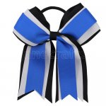 12pcs 5 inch black / white 3 layered cheer bow ponytail holder-royal