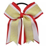 12pcs 5 inch gold / white 3 layered cheer bow ponytail holder-red